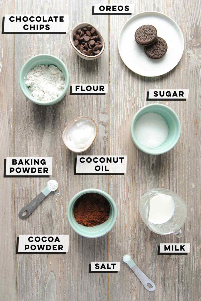 chocolate chips, oreos, flour, sugar, coconut oil, baking powder, salt, cocoa powder, milk