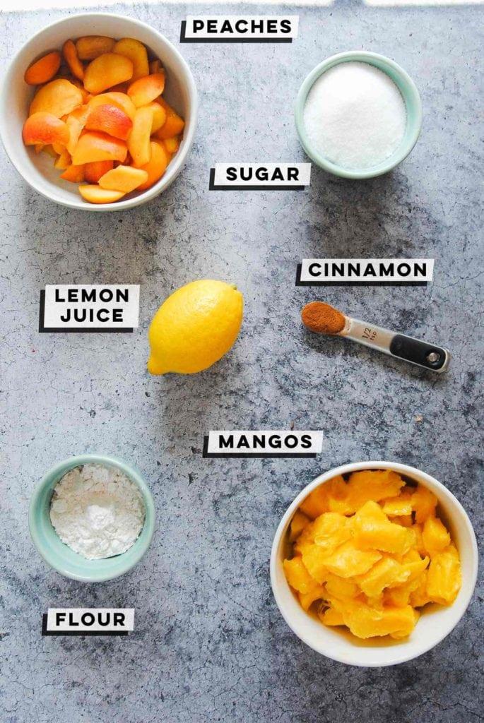 peaches, sugar, cinnamon, lemon, mango, flour