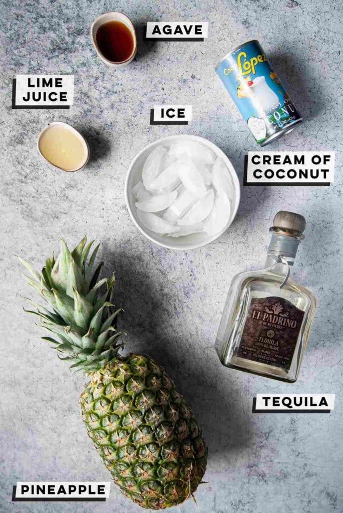 agave, lime juice, cream of coconut, ice, tequila, pineapple