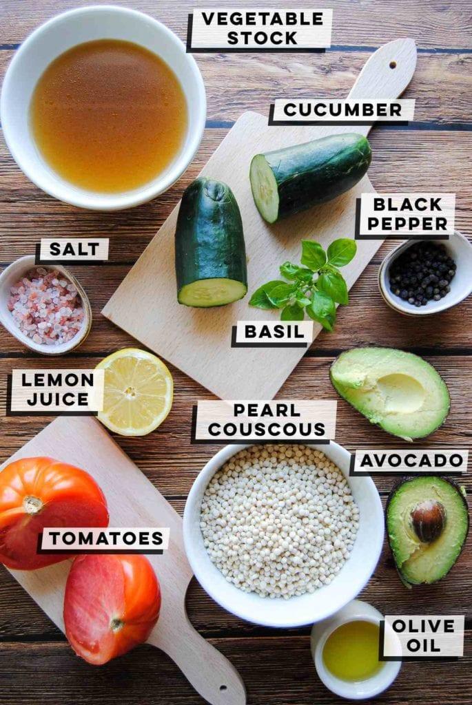 vegetable broth, cucumber, basil. salt, pepper, lemon, tomato, couscous, avocado