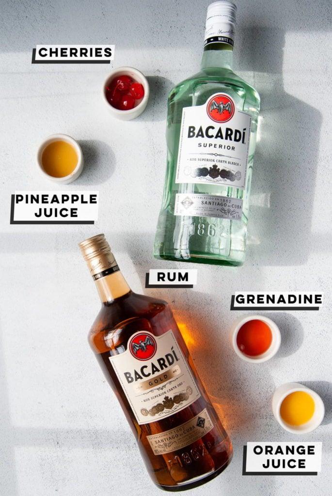maraschino cherries, pineapple juice, bacardi rum, grenadine, orange juice