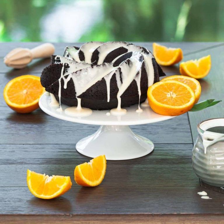 chocolate orange bundt cake dripping with glaze