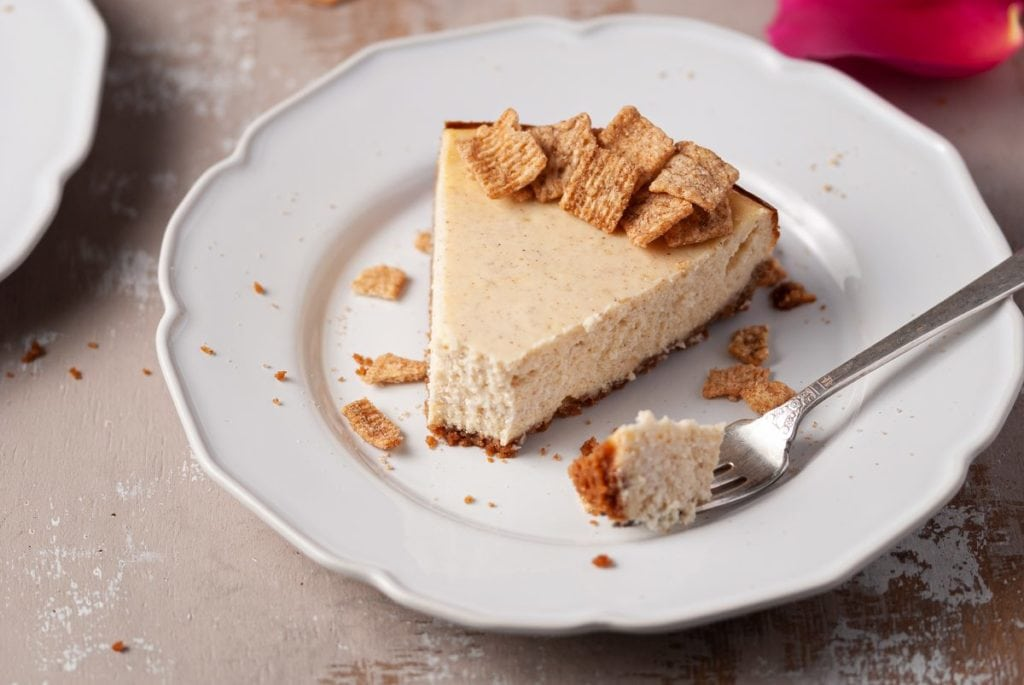 Slice of Cheesecake with bite on fork