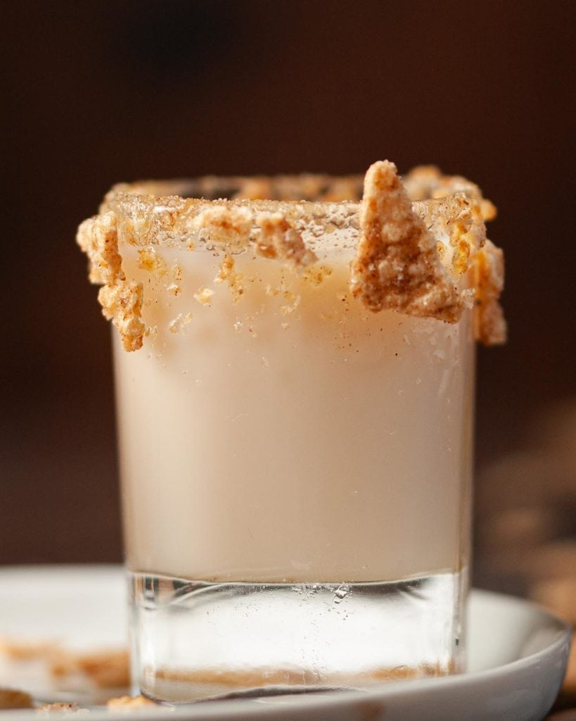 close up of shooter garnished with cinnamon toast crunch