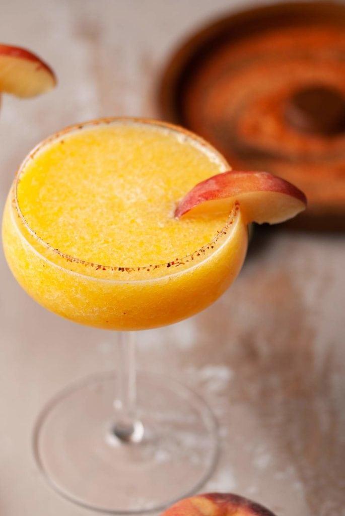 close up of frozen peach margarita