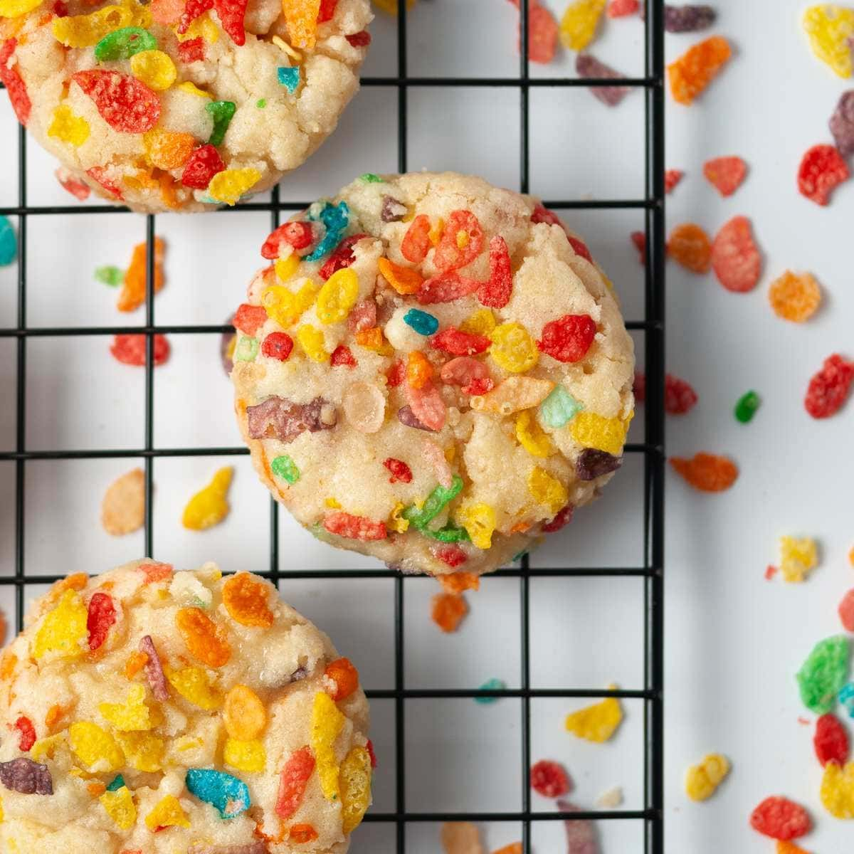 Close Up of Fruity Pebbles Cookies on Cooling Rack
