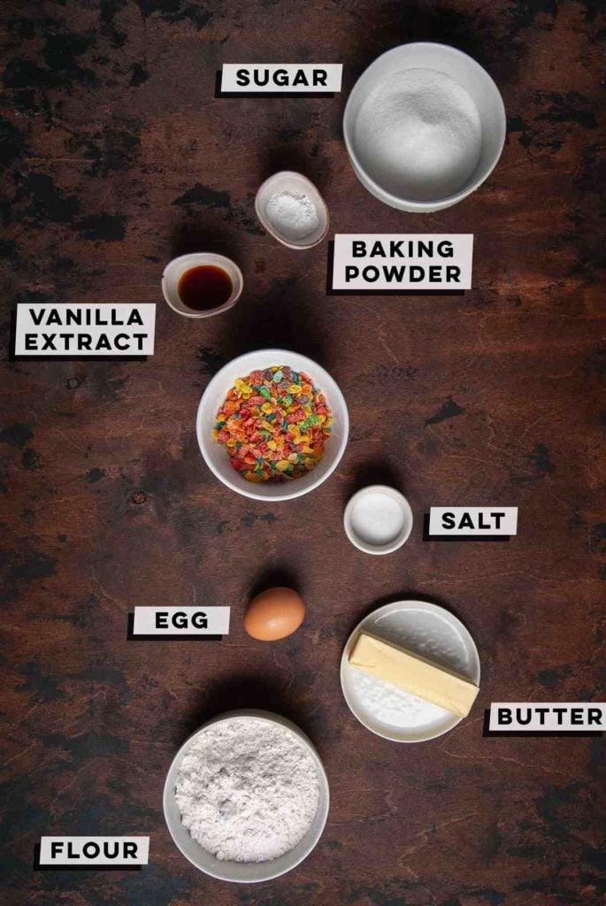 sugar, baking powder, vanilla extract, fruity pebbles, salt, egg, butter, flour