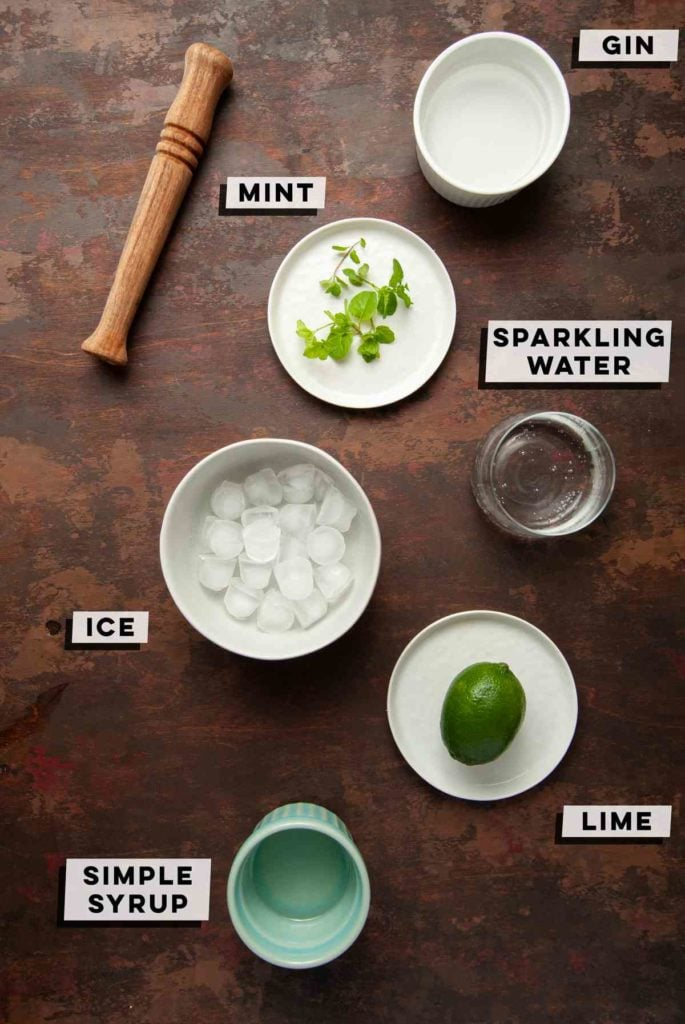 Gin, Mint, Sparkling Water, Ice, Lime, Simple Syrup