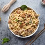 one-pot hummus pasta in a large serving bowl