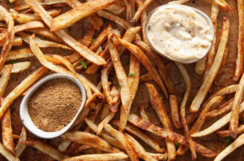 Baked Old Bay Fries with Quick Aioli