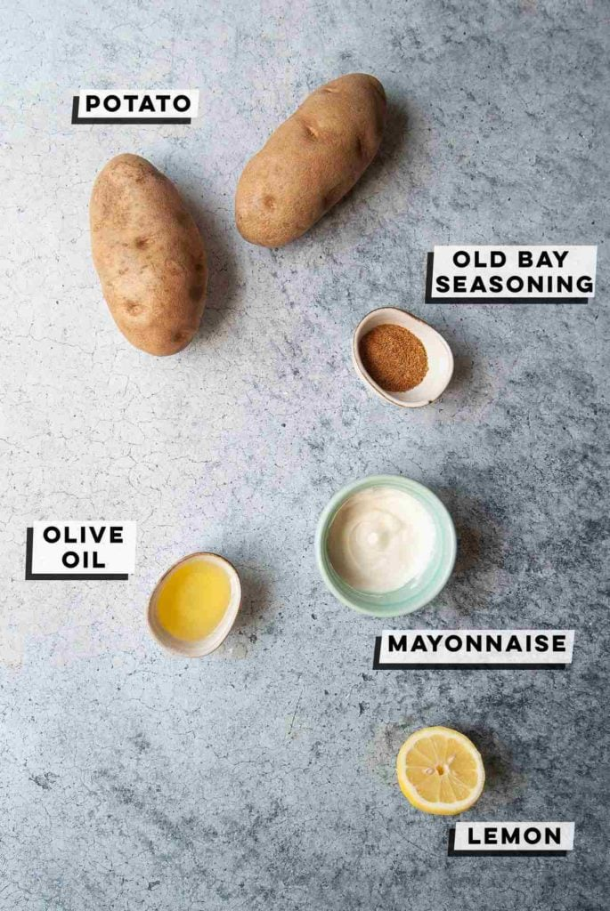 potatoes, old bay seasoning, mayonnaise, olive oil, lemon