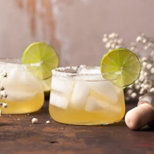Two Passion Fruit Margaritas with Flowers