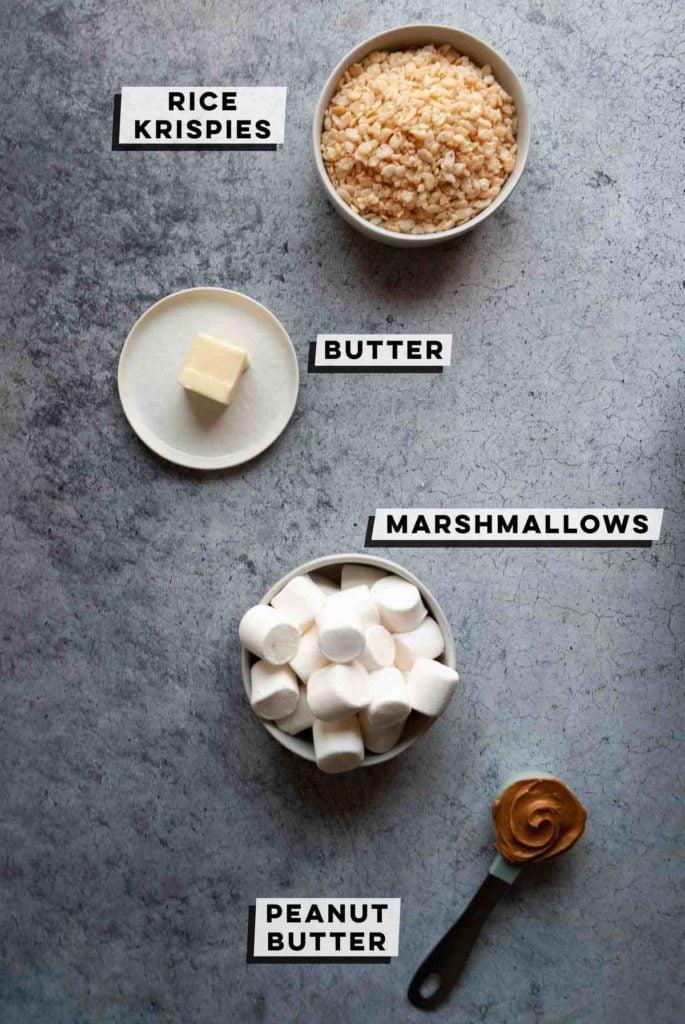 rice krispies, butter, marshmallows, peanut butter
