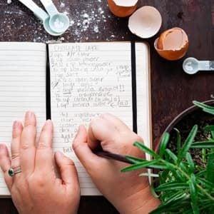 OVerhead shot of writing in a recipe book