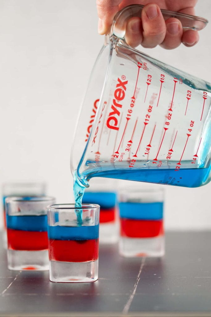 Layering Blue Jello on Top Of Red Jello in a Shot Glass