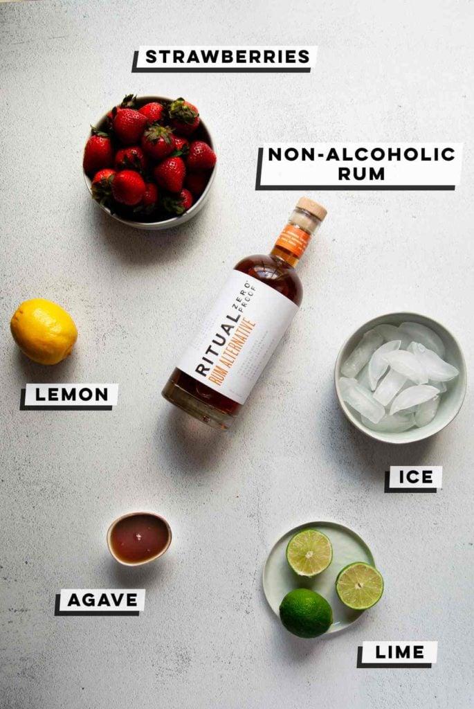 strawberries, non-alcoholic rum, lemon, ice, agave, lime