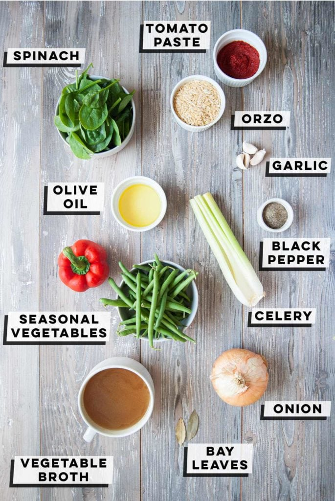 spinach, tomato paste, orzo, olive oil, garlic, black pepper, celery, seasonal vegetables, onion, vegetable stock, bay leaves