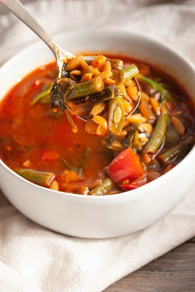 Close up spoonful of veggies and orzo in broth on a soup spoon