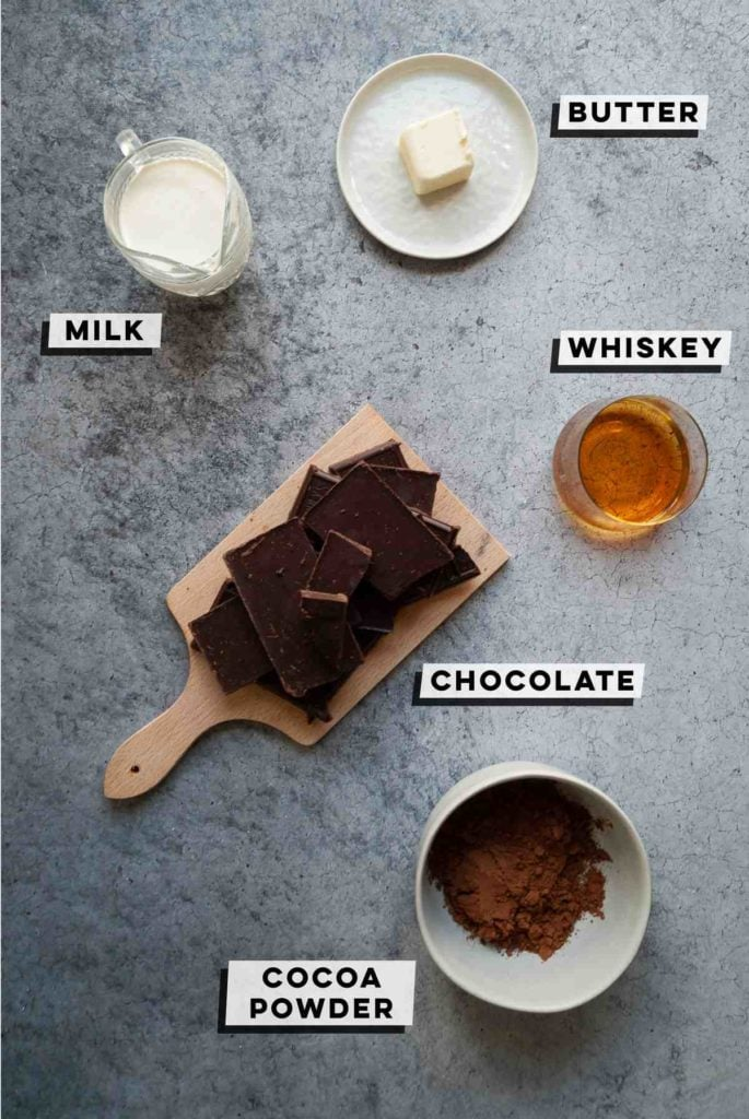 milk, butter, chocolate, whiskey, and cocoa powder
