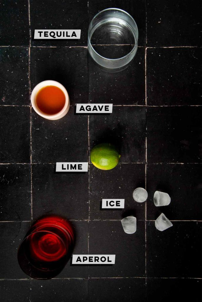 tequila, agave nectar, lime, ice, aperol