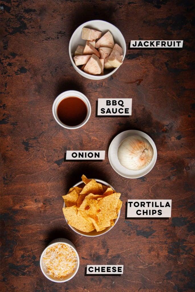 jackfruit, bbq sauce, onion, tortilla chips, cheese