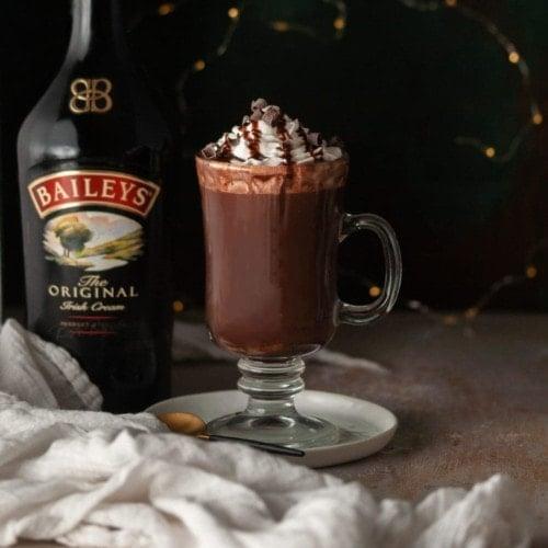 Glass Mug of Bailey's Hot Chocolate