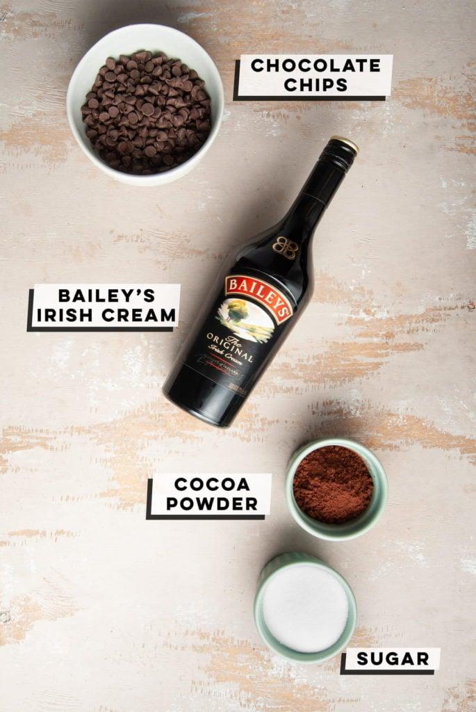 dark chocolate chips, baileys irish cream, cocoa powder, and sugar