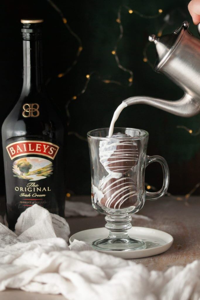 Pouring Hot Milk Over Bailey's Hot Chocolate 2