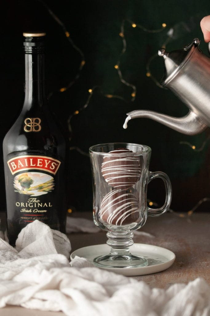 Pouring Hot Milk Over Bailey's Hot Chocolate 1