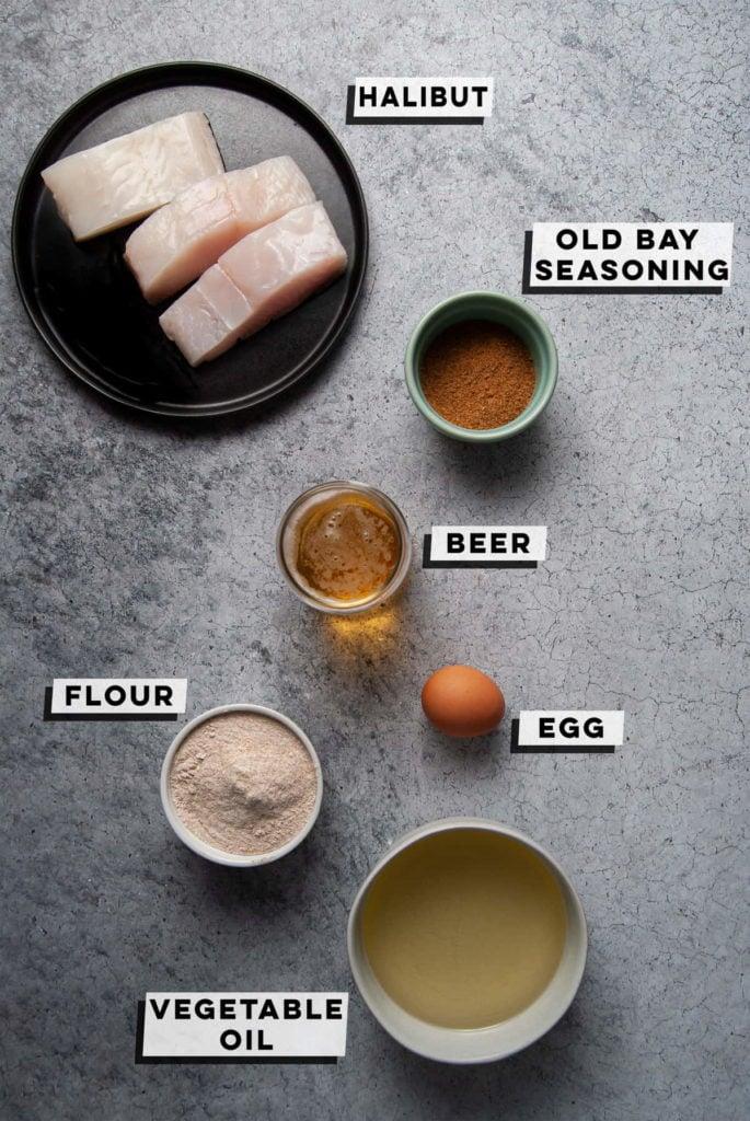 halibut, old bay seasoning, beer, egg, flour, vegetable oil