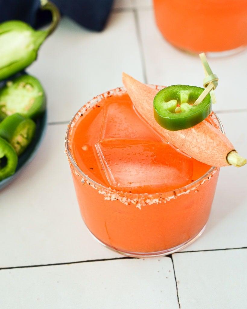 spicy mezcal margarita with carrot juice