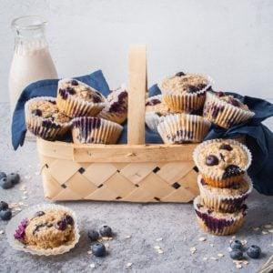 basket of blueberry banana oatmeal muffins