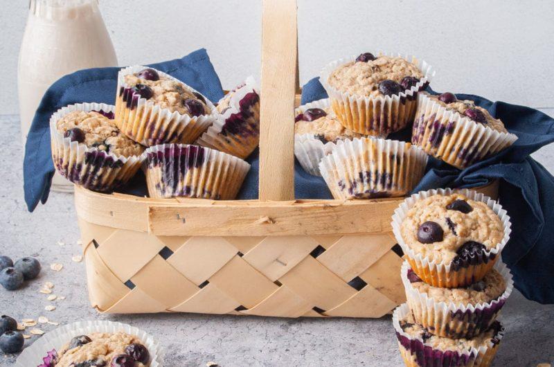 Blueberry Banana Oatmeal Muffins (Vegan-Friendly)