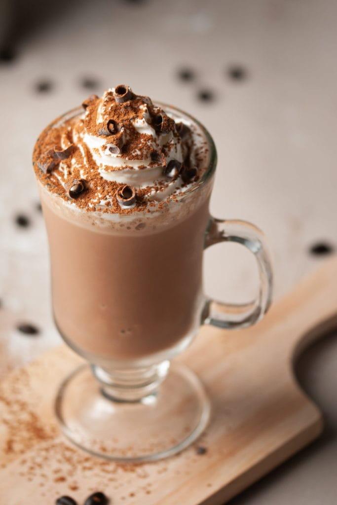 close up of mocha coffee milkshake