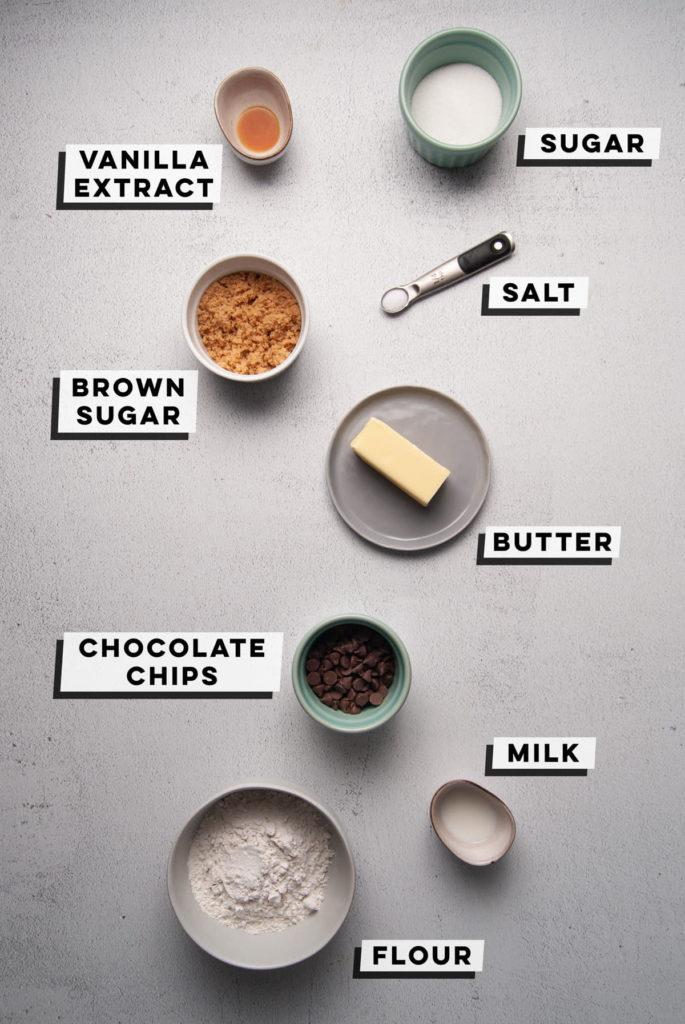 vanilla extract, sugar, salt, brown sugar, butter, chocolate chips, milk, flour
