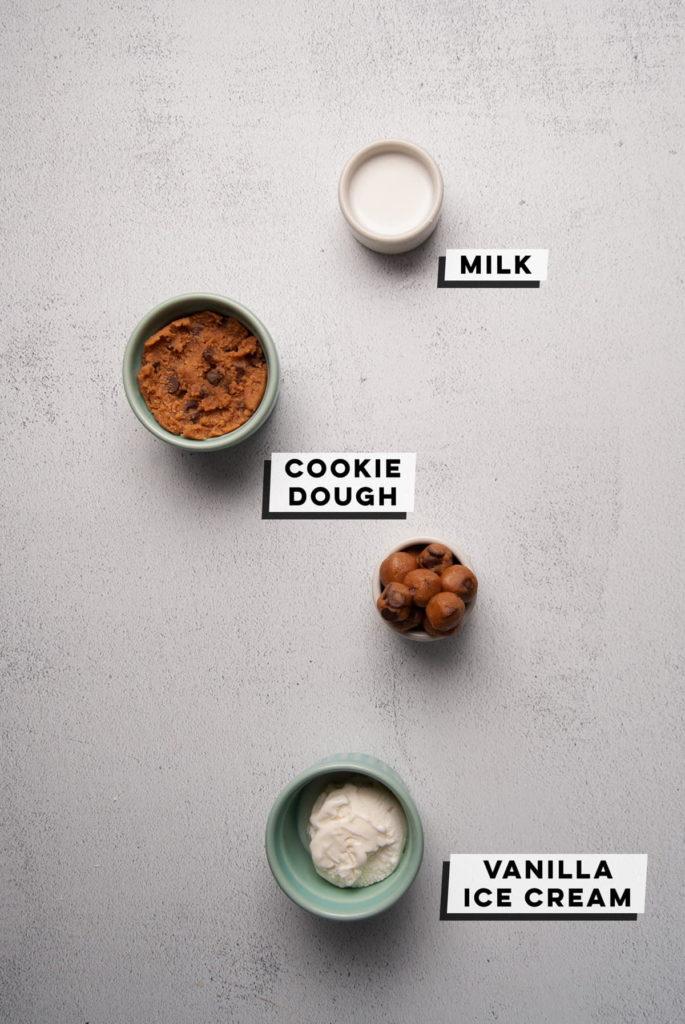 milk, cookie dough, and vanilla ice cream