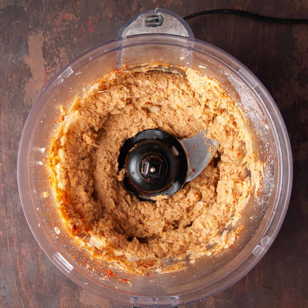 jackfruit burger mixture in food processor