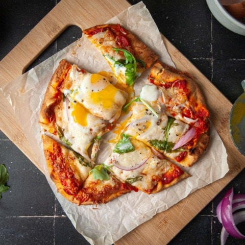 Sliced Naan Pizza with Fried Egg