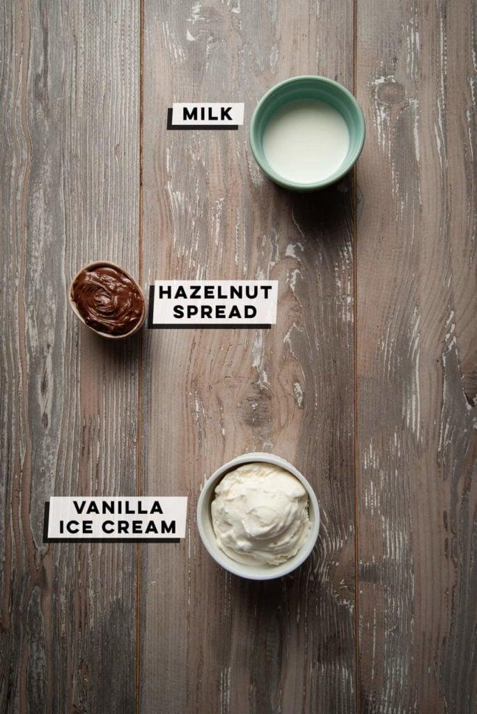 milk, hazelnut spread, and vanilla ice cream