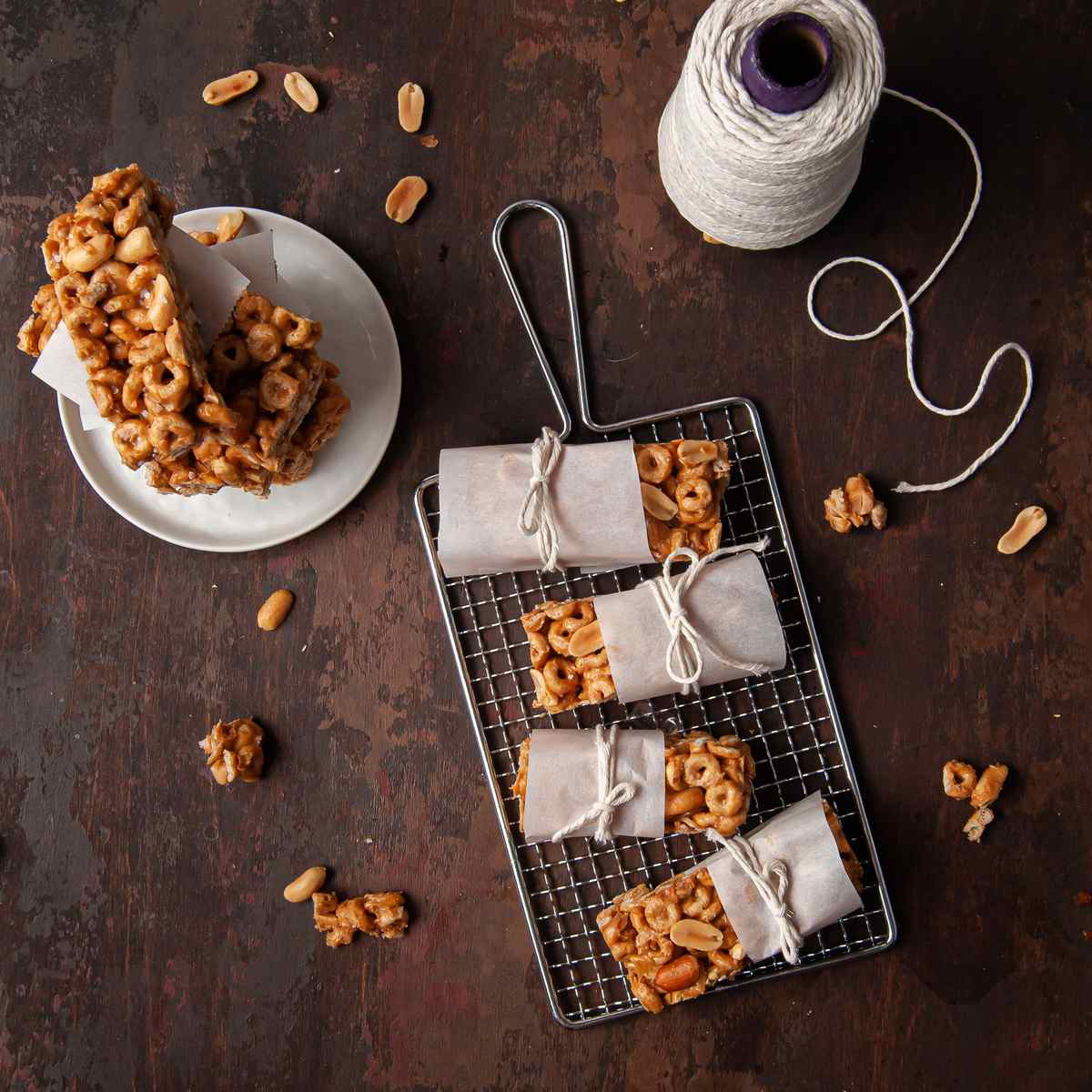 Peanut Butter Cheerio Bars wrapped in parchment