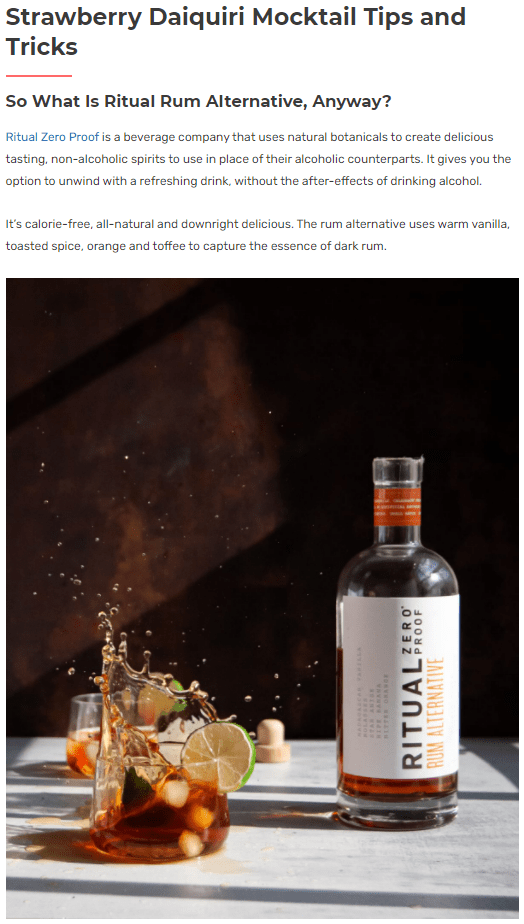 Screenshot of a sponsored product blog post