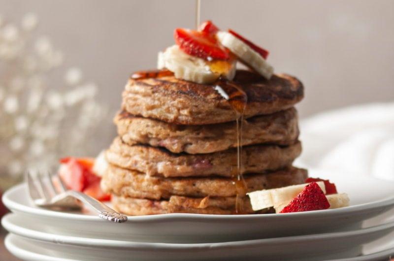 Strawberry Banana Pancakes with Whole Wheat