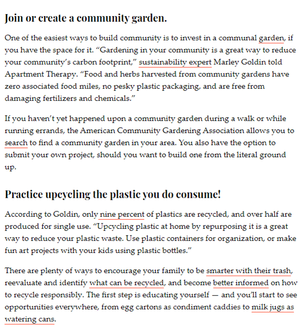 Screenshot of sustainability article featuring quotes from Marley Goldin