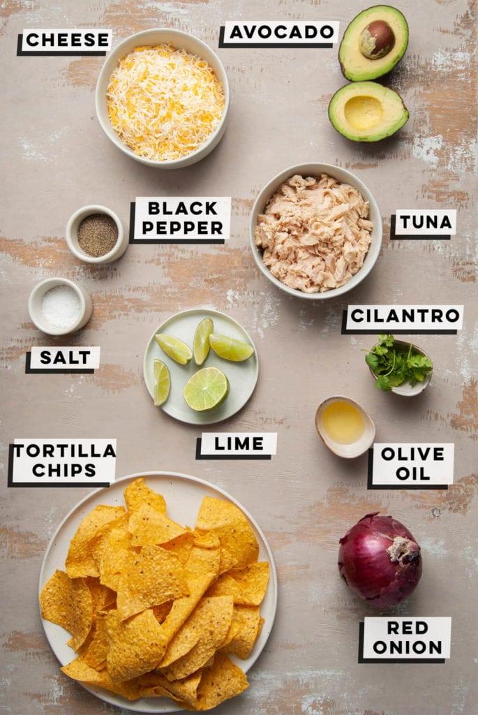 cheese, avocado, tuna, pepper, salt. lime, cilantro, olive oil, red onion, tortilla chips