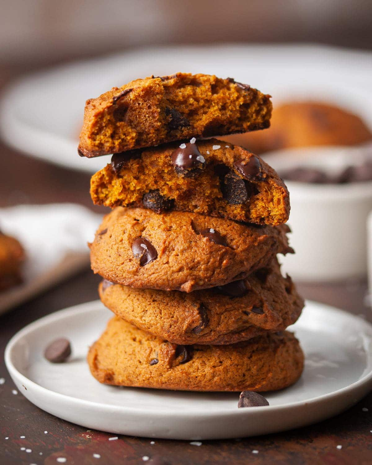 stack of cookies with one cookie split in half on top