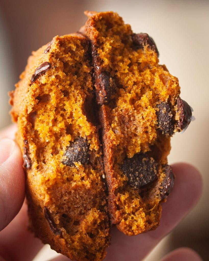 close up cookie split in half