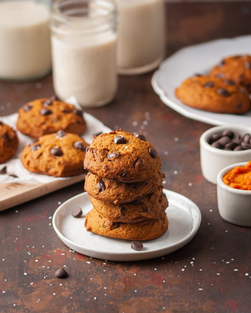 stack of cookies with more cookies in the background