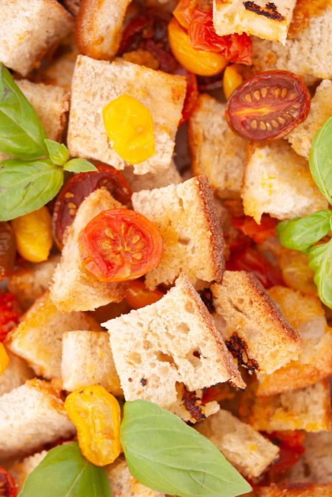 close ups of stale bread salad