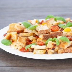 platter of vegan panzanella