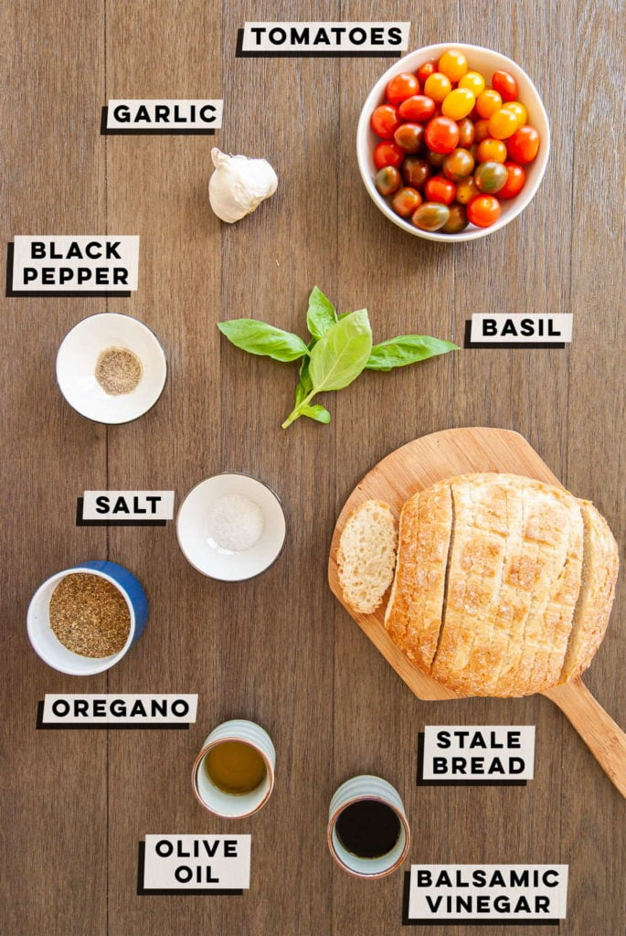 tomatoes, garlic, black pepper, salt, oregano, basil, olive oil, balsamic vinegar, stale bread